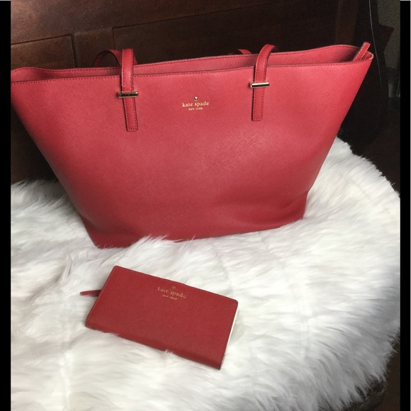 kate spade Handbags - Kate Spade large red tote with matching wallet